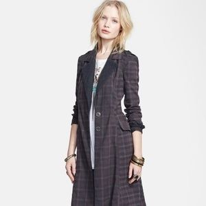 Free People Lace Trim Plaid Trenchcoat